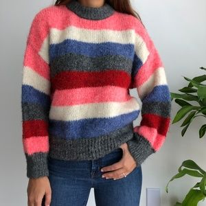 Zara Knit striped mock neck sweater S